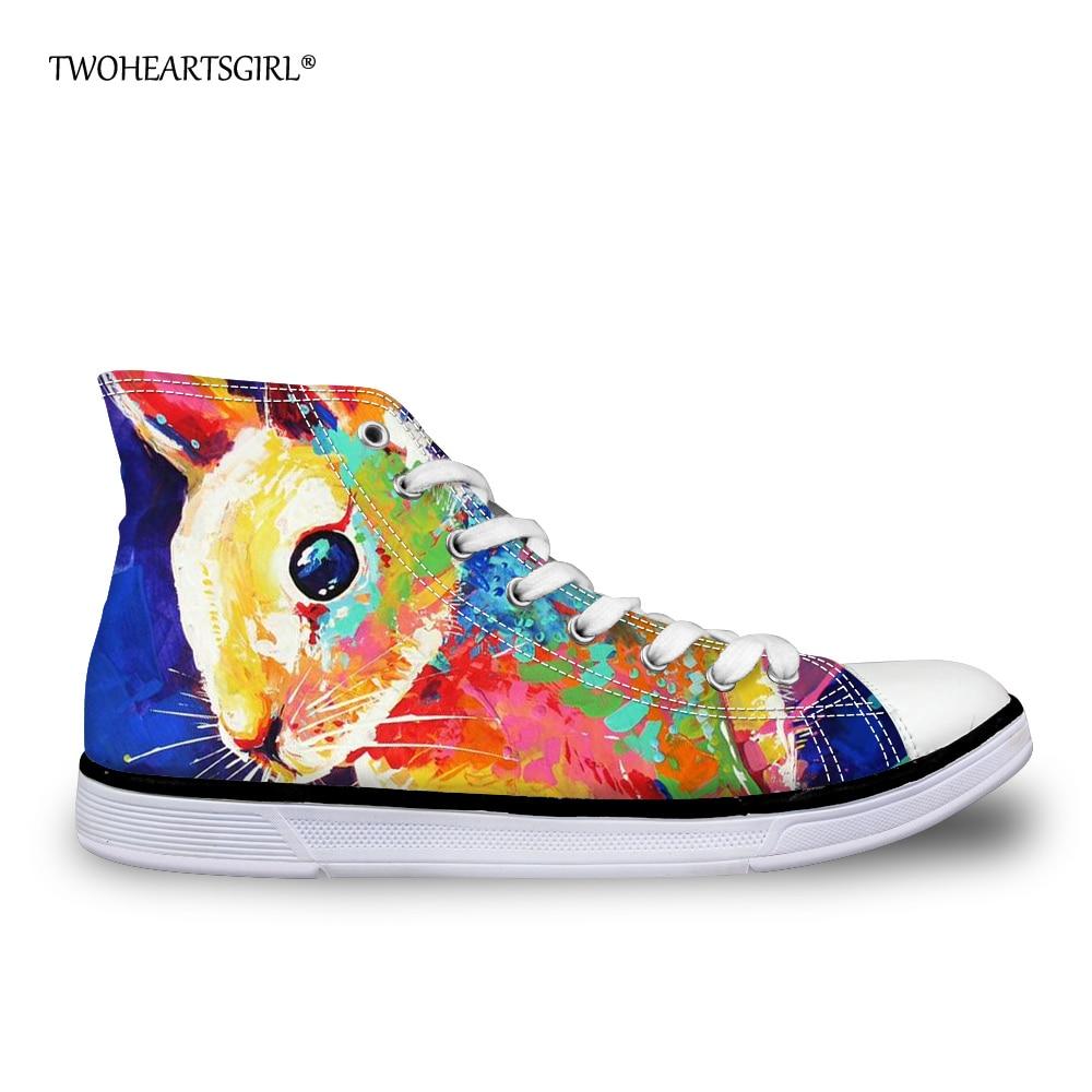 Twoheartsgirl Colorido pintado a mano High Top Canvas Shoes Casual - Zapatos de mujer