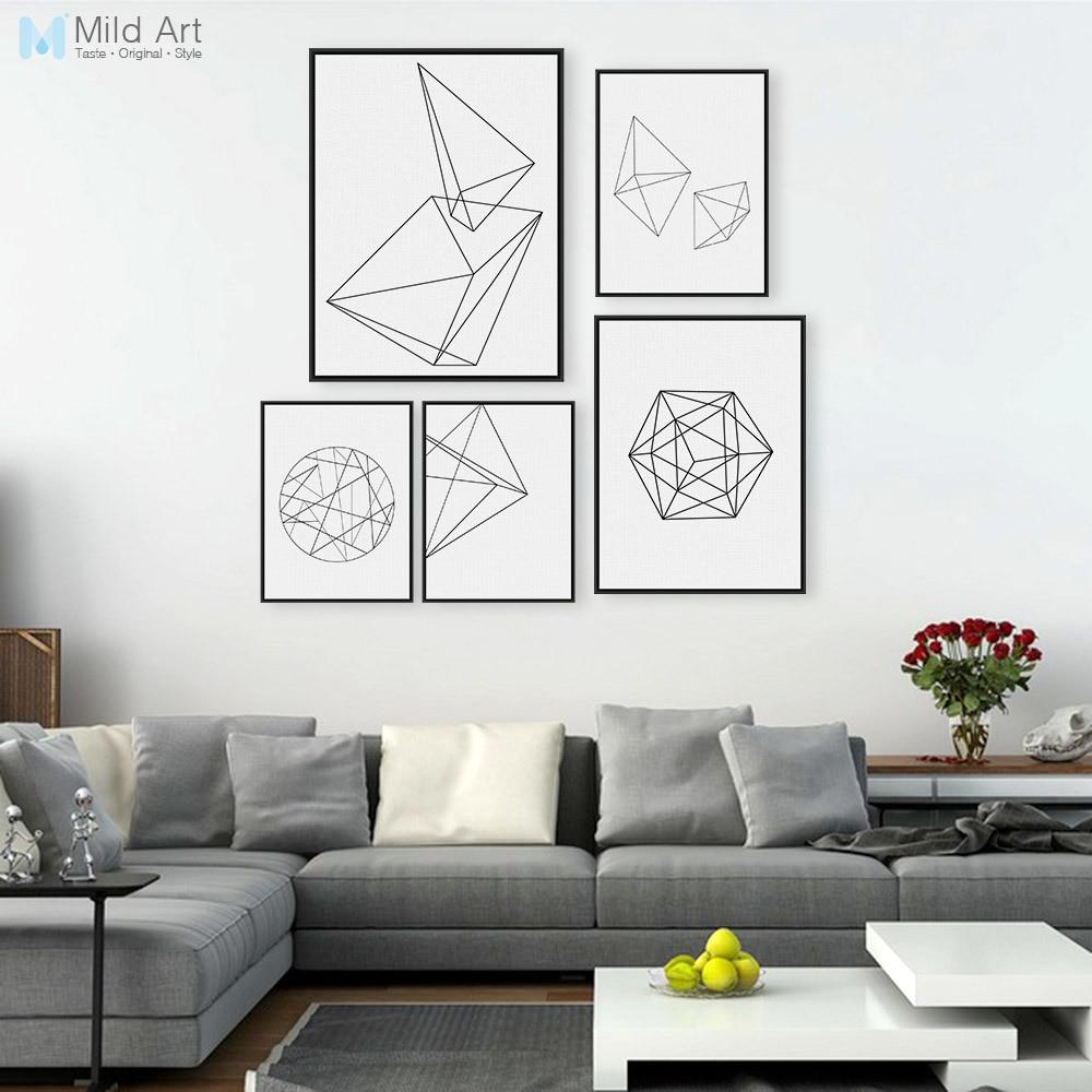 Minimalistická černá bílá geometrická linie tvar plakátu tisk moderní abstraktní nástěnné umění obrázek skandinávský styl domácí deco plátno malba