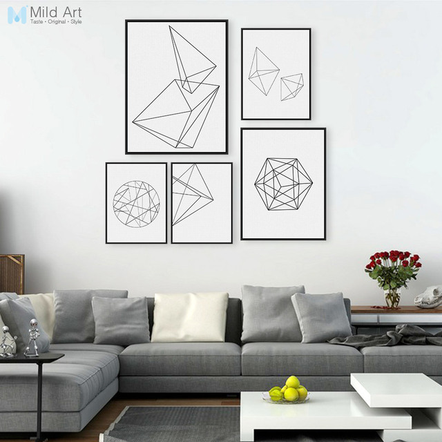 Minimalist black white geometric line shape poster print modern abstract wall art picture nordic style home