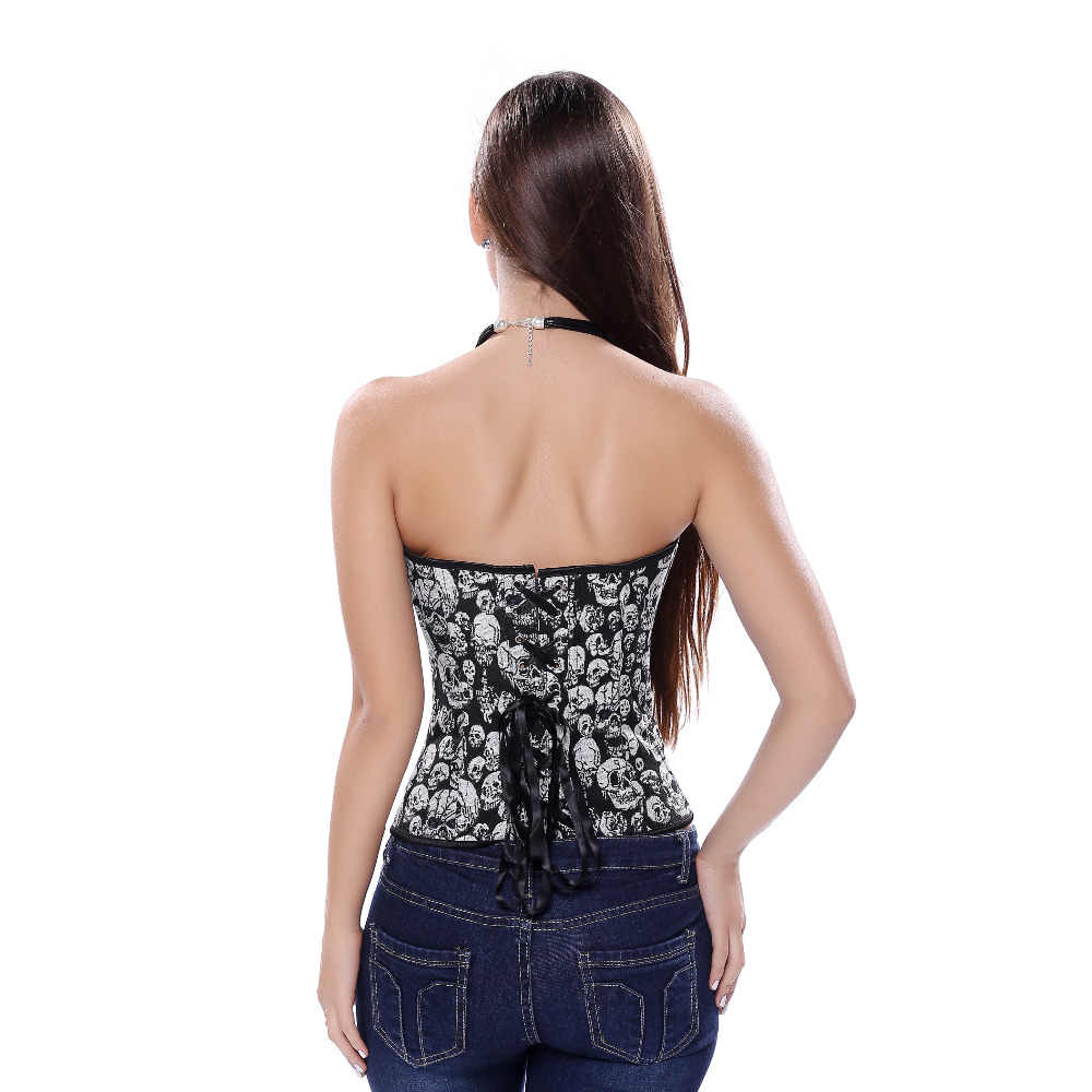 52110f2a809 ... Gothic Women s Corset and Bustier sexy Skull Costume Top Showgirl hot  Clubwear Shirt Lace up Boned ...