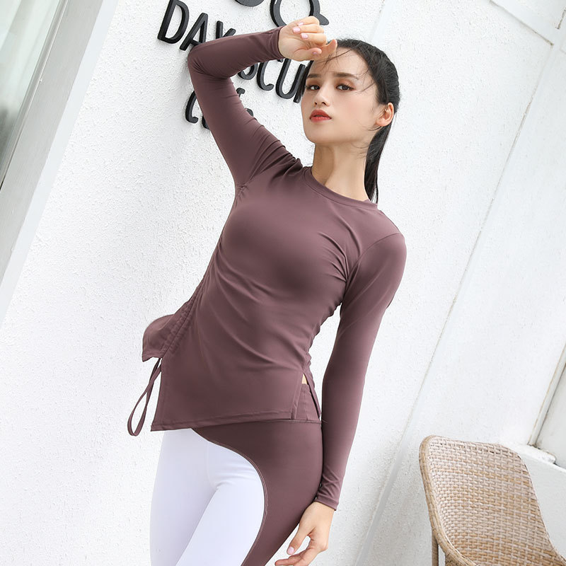 2018 Autumn New Long Sleeve Yoga Fitness Top Adjustable Drawstring Side Shirring Gym Shirt Women Dry Fit Nylon+Spandex T Shirt