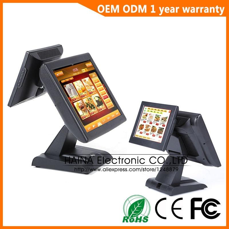 Хайна touch 15 дюймов двойной Экран Сенсорный экран pos-терминал все ine одном ПК