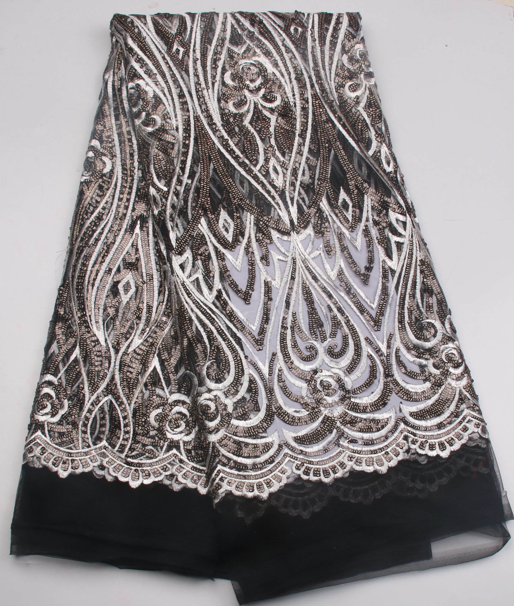 Hot Sale French Lace Fabric African Embroidery Tulle Lace Fabrics High Quality Nigeria Lace Fabric With Sequins For Dress Ks727B