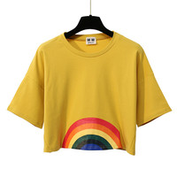 Merry Pretty Summer New Fashion Harajuku Women T Shirt Kawaii Rainbow Print Crop Tops Tees Cute