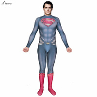 2018 New High Quality 3D Logo Superman Costume With Muscle Shade 3D Print Man Of Steel