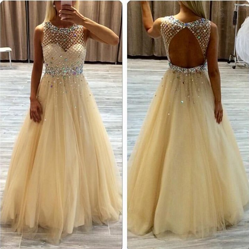 Backless Light Yellow   Prom     Dresses   for Womens 2019 Sparkling Tulle Boat Neck Floor Length Custom Made Gowns