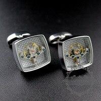 Silver Color Brass Square Tourbillon Novelty Cufflinks Fashion Men S Shirt Button French Cuff Links 8611014