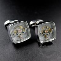 silver color brass square tourbillon novelty cufflinks fashion men's shirt button French cuff links 8611014