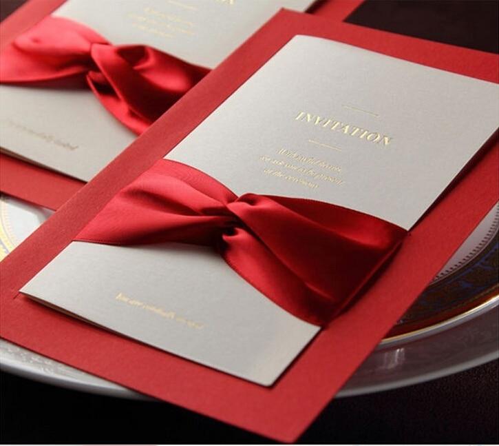 1sample New Bowknot Customized Wedding Invitation Card,elegant Marriage  Invitations With Ribbon(China (