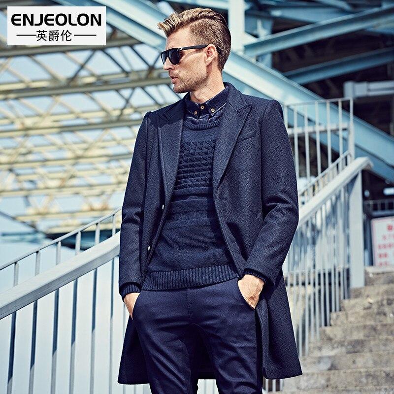 Enjeolon brand Men's casual X- Long Wool & Blend jacket Male single Breasted woolen coats outwear Windbreaker free ship WT0811