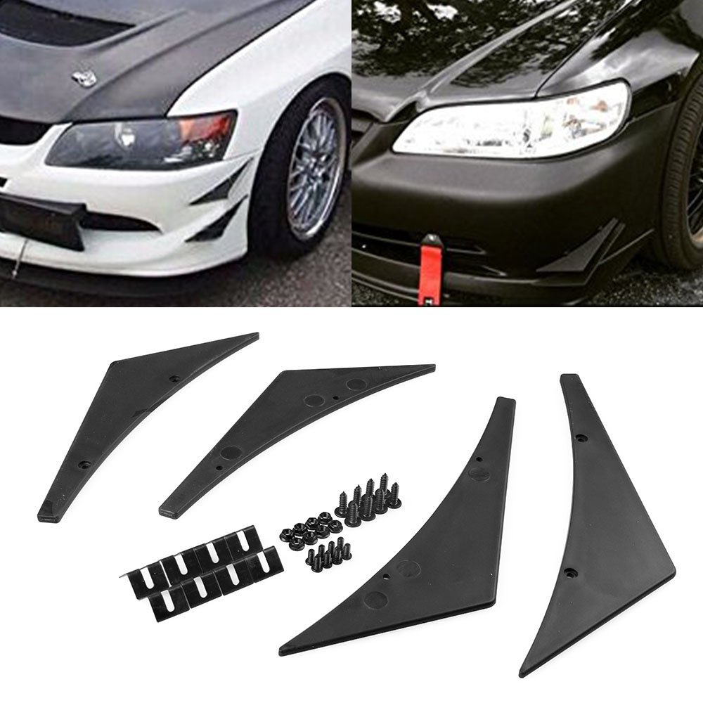 Fit Front Bumper Lip Splitter Fins Body Spoiler Canards Valence Chin ...