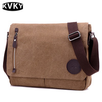 KVKY Men Canvas Bag Man Bussiness Messenger Bag Fashion Crossbody Shoulder Bag Male Handbags Casual Travel