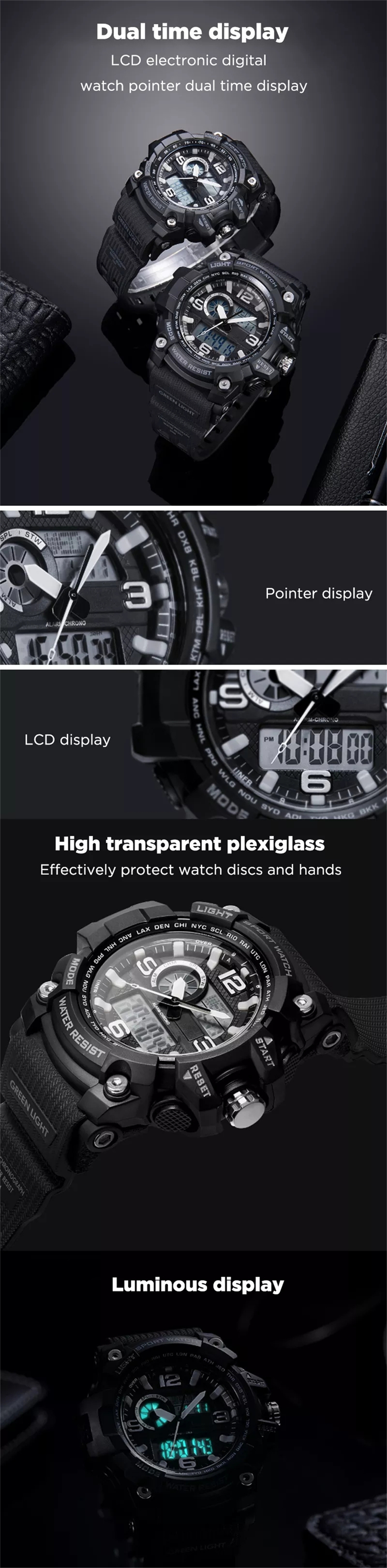 New xiaomi mija outdoor Double display digital watch Original imported movement Multi-function dial Dual time display waterproof (1)