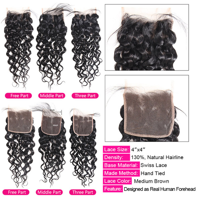 Water Wave Bundles With Closure Brazilian Hair Weave Bundles With Closure 100% Human Hair 3 Bundles With Closure Non Remy