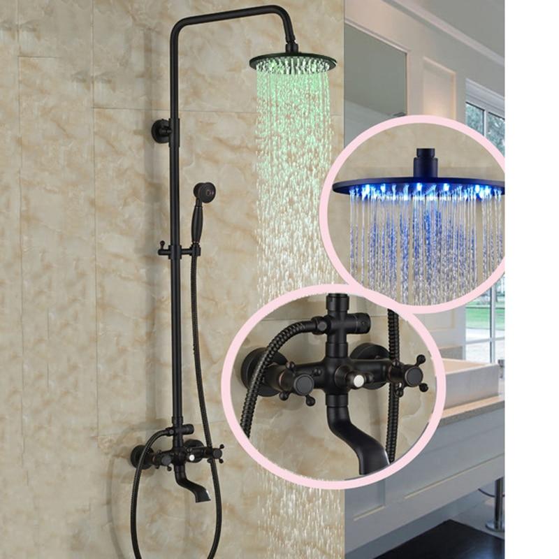 LED Round Rain Shower Head Wall Mount Faucet Set Oil ...
