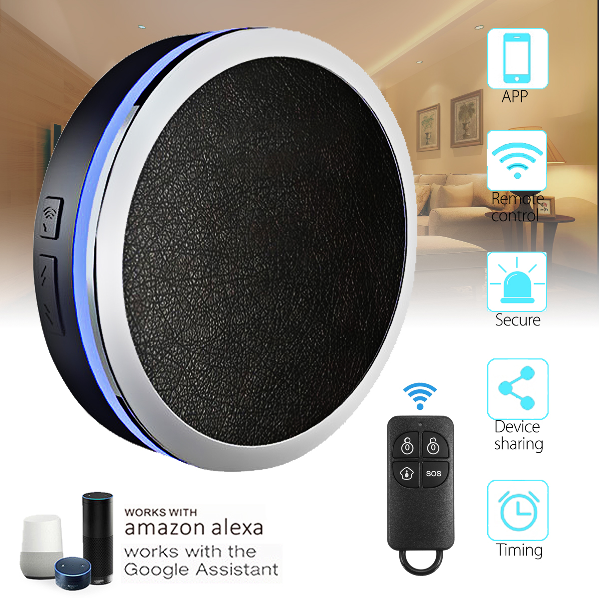Kinco Smart WIFI Home Security Alarm APP System Works With Alexa/Google Home Voice Control Timing Smart Home frankever smart products wifi voice control discolourable bulb for bedroom club compatible with alexa google home