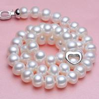 925 silver real natural big Kano Cindy [thick love] send mother 9 10 fresh water pearl necklace, strong light clavicle chain, si