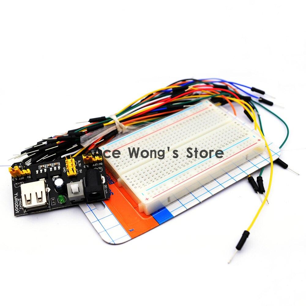 3.3V/5V Breadboard power module+Quality mini bread board kit +65 Flexible jumper wires msp430 development board microchip msp430f149 program breadboard