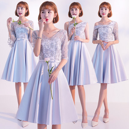 2018new stock plus size women pregnant wedding party   Bridesmaid     Dresses   knee length sexy romantic cheap satin   dresses   jyx8103