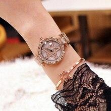 Women Rhinestone Watches Lady Rotation Dress Watch Brand Dial Bracelet Wristwatch Crystal Star Pentagram Relogio Feminino