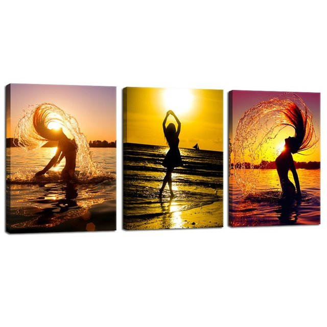 5 Piece Canvas Art Sunset Beach Nude Women Oil Painting Home Decor Wall  Pictures For Living