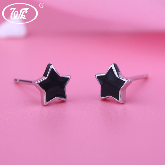 Wk New Arrival 2018 Black Star Stud Earrings For Women Geometric Simple 925 Sterling Silver Earring