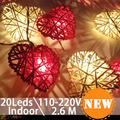 2.6 M 20Led Multicolores en Forma de Corazón de Navidad Pelota de Ratán Luces de Cadena Decoración Del Hogar LED luces decorativas guirnaldas