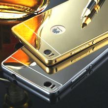Phone Case For Huawei P8 & P8 Lite Aluminum Metal Frame + Mirror For Huawei Ascend P8 & Huawei Ascend P8 Lite Back Cover