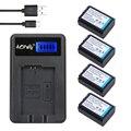 Aopuly 4 unids np-fw50 np fw50 batería + cargador usb lcd para sony A5000 A5100 A6000 5 T 3N 5C A7 A7R NEX5TL NEX5R NEX6 NEX7 NEX5N