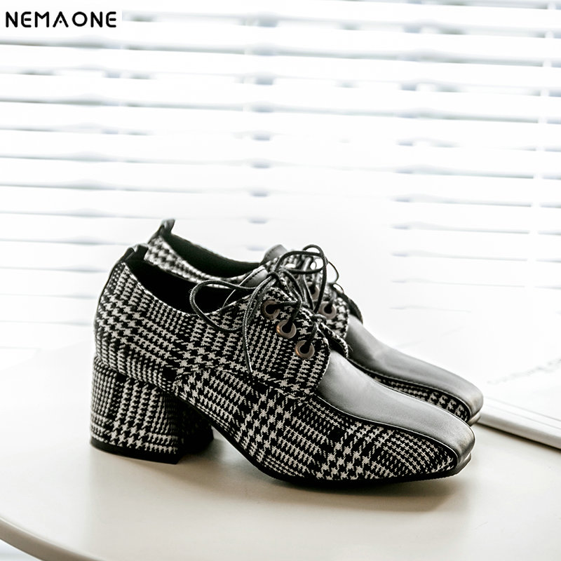 NEMAONE New lace up women Shoes thick high Heels plaid Women Pumps rouned Toe dress shoes woman xiaying smile woman pumps shoes women spring autumn wedges heels british style classics round toe lace up thick sole women shoes