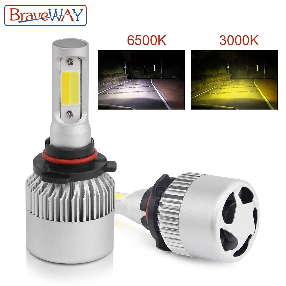 BraveWay H4 H7 H11 H1 9005 9006 COB Car LED Headlight Bulbs Dual Color 8000LM 3500K 6500K Auto Headlamp Fog Light Bulb S2