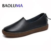 2017 Autumn Women Flats Shoes Women Slip On Flat Loafers Leather Shoes Ladies Handmade Rubber Boat