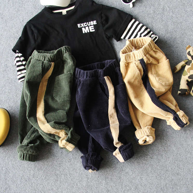 new 2018 autumn boys casual loose corduroy pant 1pc kids spring fall comfortable pant boys trousers