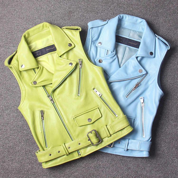 Новое поступление 2018 женские из натуральной яловой кожи жилетка для женская короткая куртка мятно-зеленый цвет небесно-синий Большие размеры XXL 2XL