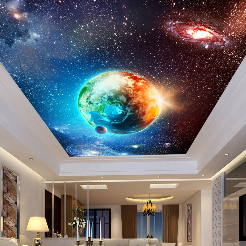 Large Custom Mural Wallpaper Ceiling Zenith Continental Hotel Bar KTV Clubs Ceiling Wallpaper Cool Starry Sky Earth Photo Murals 3d large custom wallpapers mural ceiling zenith high quality european painting hotel bar ktv clubs ceiling floor wall paper