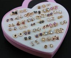 Atacado 36 pares/lote menina feminino encantador rosa brincos de ouro cores misturadas brilhante zircon brincos presente ye175