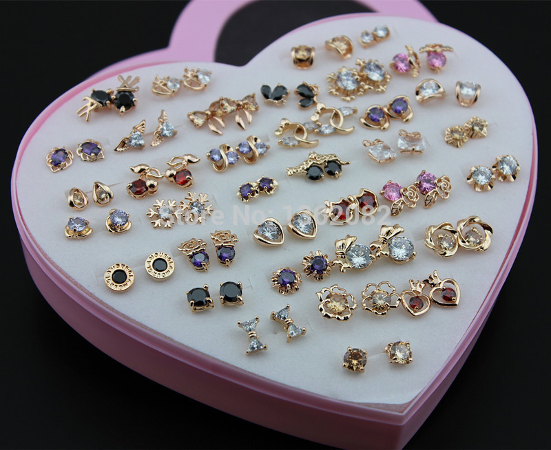 Wholesale 36 pairs/lot Girl Women's Charming Rose Gold Earrings Mixed Colors Shiny Zircon Stud Earrings Gift YE175
