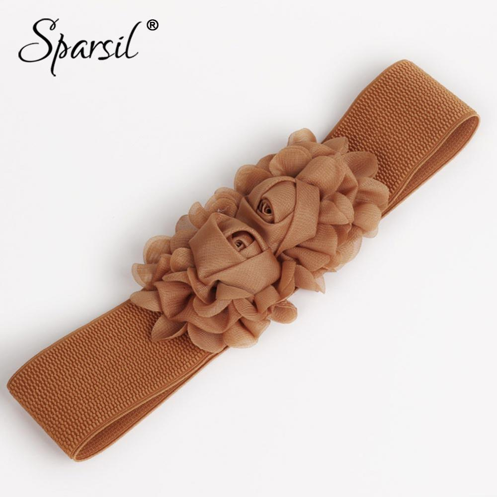 Sparsil Women Super Elastic 6cm Wide Waist Belts Chiffon Rose Decorated Cummerbunds Female Girdle Solid Color Slim Fit Waistband