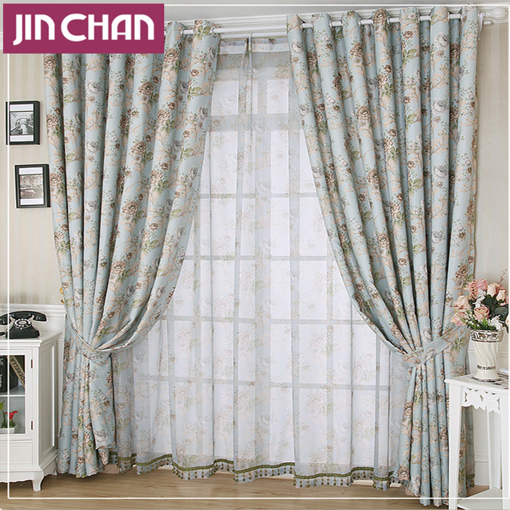 Pastoral Style Luxury Blue Flower Pattern Blackout Window Cutains For  living room The Bedroom Window Treatments. Popular Bedroom Window Treatments Buy Cheap Bedroom Window