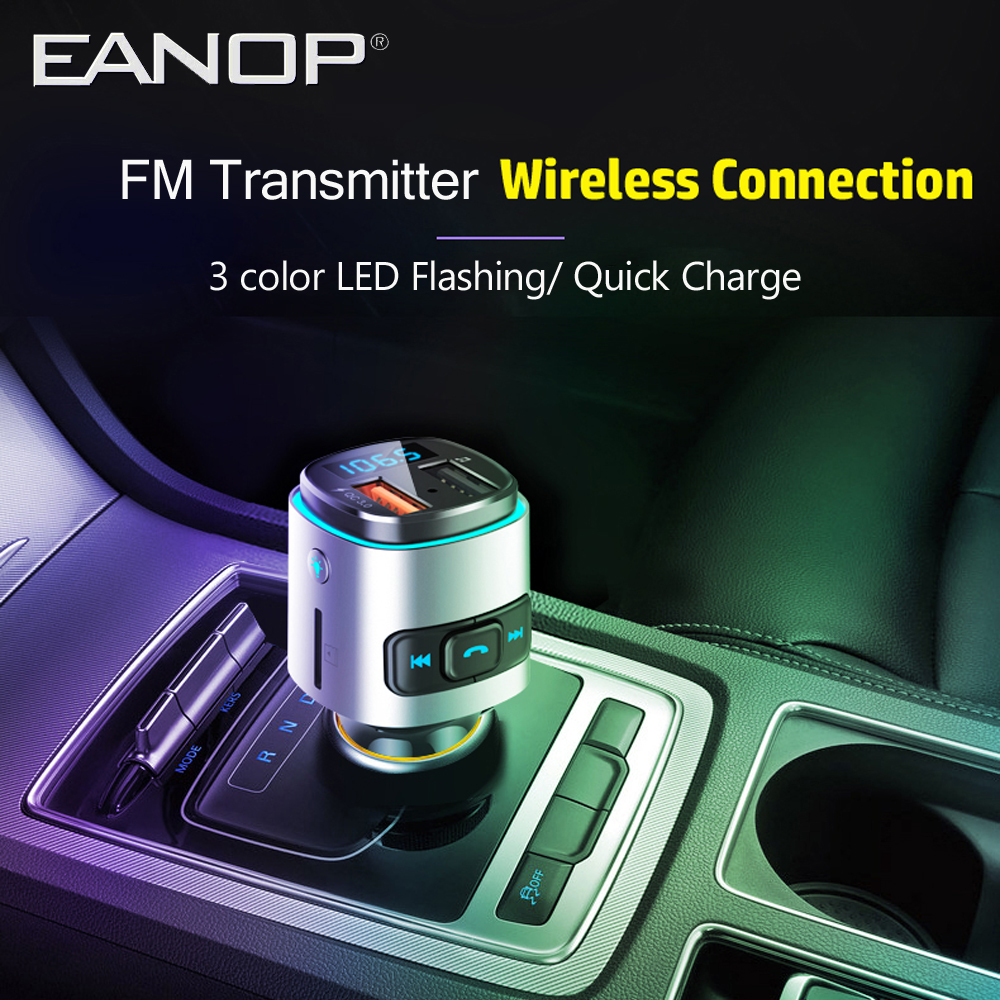 EANOP BC41 Car FM Transmitter Aux Modulator Wireless Handsfree Car Kits Car Audio MP3 Player with Quick Charge TF Card slot image