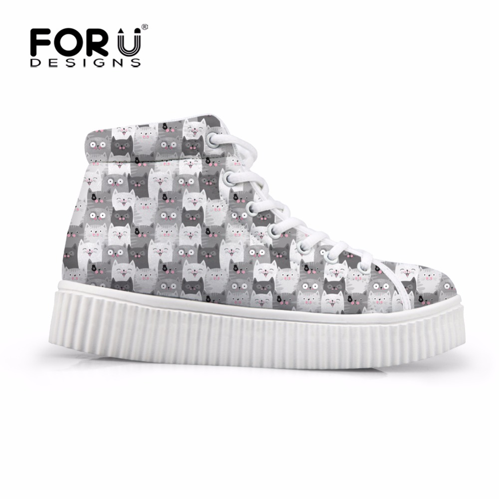 FORUDESIGNS Female Autumn Casual High Top Flats Shoes 3D Cute Animal Cat Pattern Women Height Increasing Platform Shoes Woman forudesigns fashion women height increasing flats shoes 3d pretty flower rose printed casual high top shoes for female platform