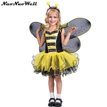 Girls Yellow Dress Bee Party Cosplay Animal cosplay costumes Girl Halloween Costume with Wing