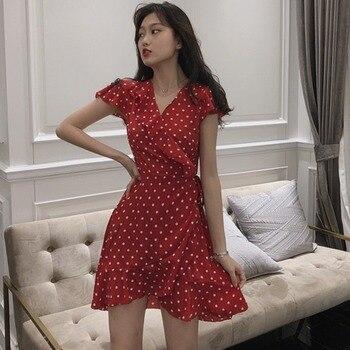 2019 Women Polka Dots Summer Dress Casual Short Sleeve V-Neck Ruffle Dress Fashion Lace Up Chiffon Dresses Female Vestidos plus tie neck lace insert ruffle botanical dress