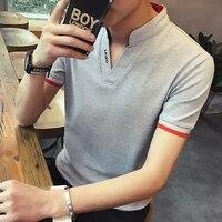 New Men S Short Sleeved T Shirts Pure Color Collar Repair