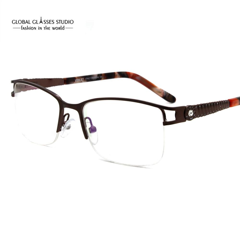 2019 Neuer Stil Mode Frauen Aufgedeckt Weitwinkel Objektiv Design Semi-randlose Metall Optische Rahmen Klare Linse Brillen 5089