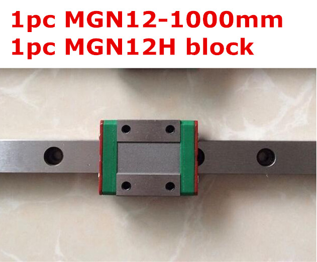 1pcs MGN12 1000mm linear rail 1pcs MGN12H long type carriage