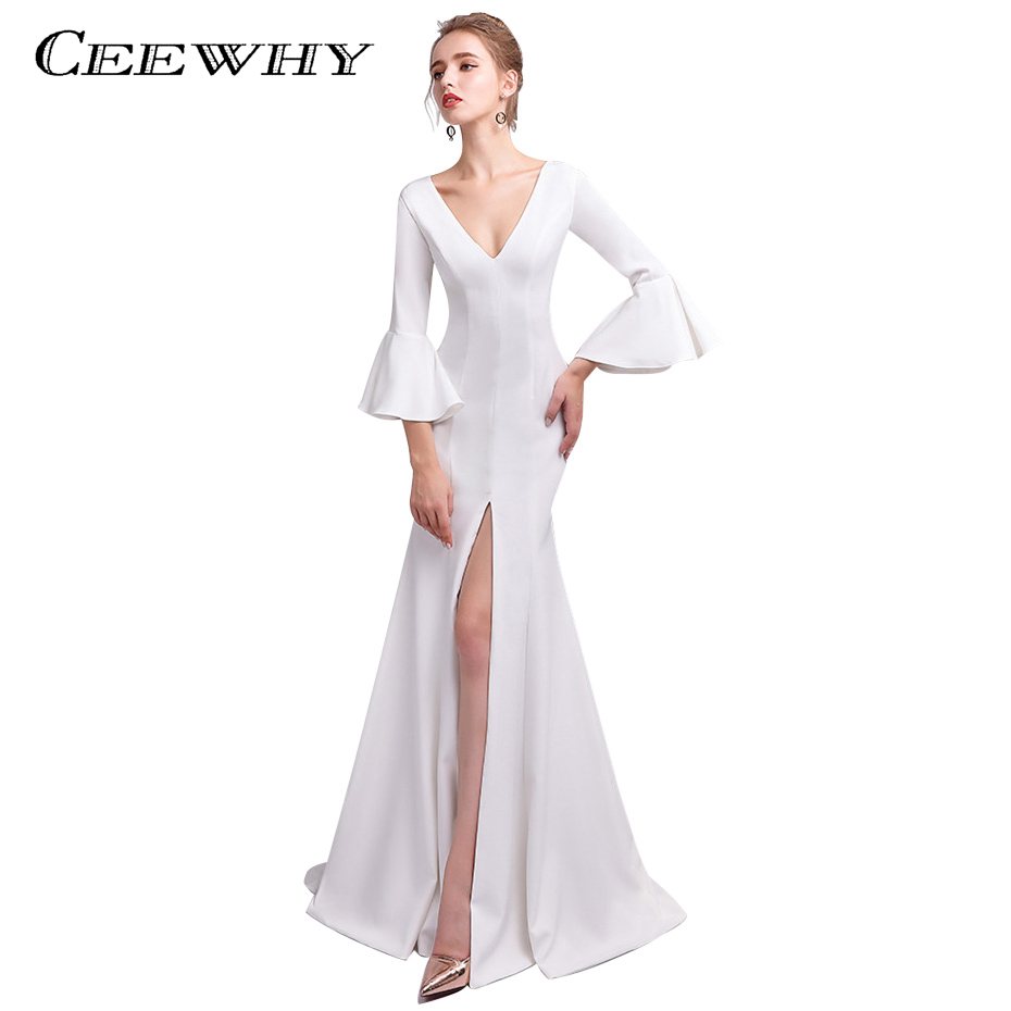 CEEWHY Ruffles Sleeves Deep V Neck Long Formal Dress White Evening Gown Abendkleider Mermaid Evening Dress Split Robe de Soiree gown