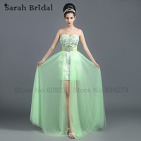 Abendkleider In Stock High Low Prom Dresses 2015 Sweetheart Aqua Long Dress Lace Party Gown Real Picture Rode De Soiree SD258