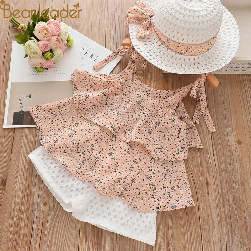a718ce9a6c4 Bear Leader Girls Clothing Sets 2018 Summer Kids Clothes Floral Chiffon  Halter+Embroidered Shorts Straw