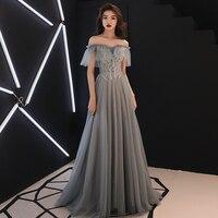 Grey Slash Neck Women Lace Qipao Maxi Evening Dress Sexy Exquisite Slim Pleated Dresses Appliques Luxury Robe De Soiree Vestidos
